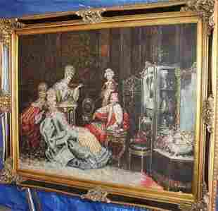 Monumental European 19th Oil On Canvas Signed Hobbes