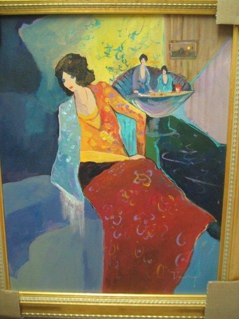 Tarkay - Late Afternoon Tea - Original Oil on Canvas