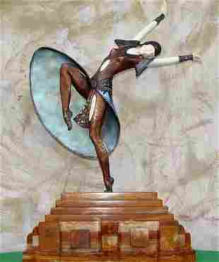 Almeria, Bronze and Ivory Sculpture Signed Chiparus