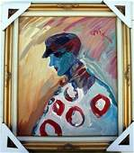Peter Max Original Oil On Canvas Attributed - The Clown