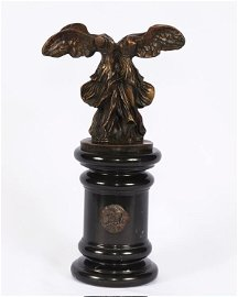 Dali Sculpture-Large Winged Victory Bust on Marble Base