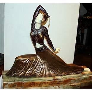 Beautiful Chiparus-Bronze & Ivory Sculpture-Clara