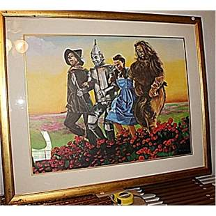 """Rare & Wonderful """"Wizard Of OZ"""" Litho Framed By Brown"""
