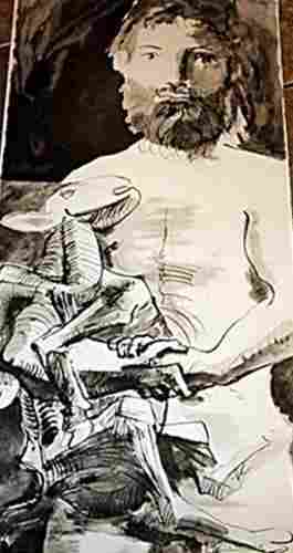 Hand signed Picasso Lithograph - Man with Goat - Rare