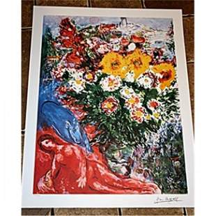 Beautiful and Rare Chagall Lithograph - Les Soucis