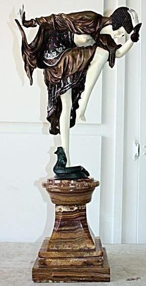 Danseuse D'Ankara Bronze & Ivory Sculpture Collinet