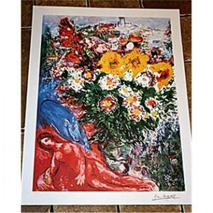 Exquisite and signed M Chagall Lithograph - Les Soucis