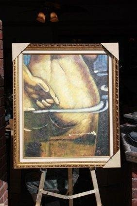 Salvador Dali - Nude In Water 20x24 Oil On Canvas