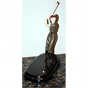 Exquisite Signed Preiss Bronze And Ox Bone - Golf Lady