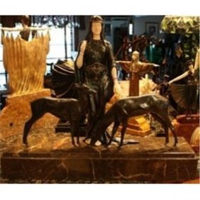 "Chiparus - Bronze & Ox Bone 'eternal Friends ""the Deer"""