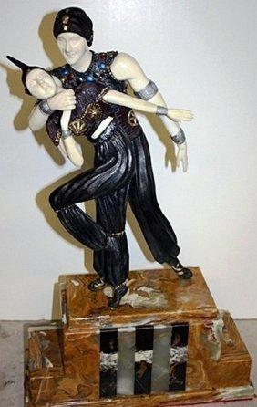 Persian Dancer - Bronze & Ox Bo Onyx Sculpture Chiparus