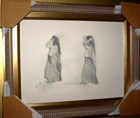 Original Camille Pissarro Pencil Drawing Unknown Title