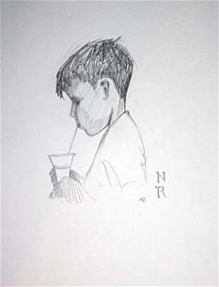 Exquisite Norman Rockwell Pencil on Paper Signed