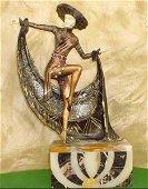 Mexican Hat Dancer Bronze & Ox Bone Sculpture C.Mirval