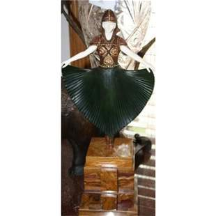 """Great bronze & Ox Bone And Onyx """"Actress"""" By Chiparus"""""""