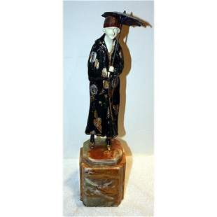 D Chiparus - Bronze & Ox Bone Onyx -A Day at the beach