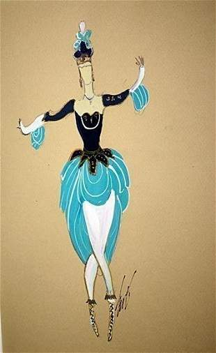Attributed to Erte Original Gouache- April Dancer