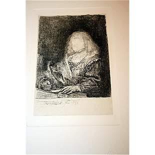 After Rembrandt Etching - Man At A Desk Framed , COA