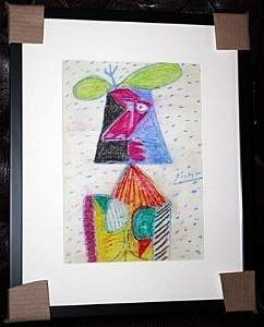 Attributed to Picasso Original Oil Pastel on Paper