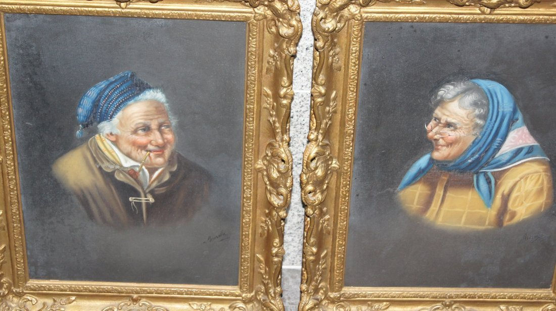 LOT OF 2 PORTRAITS - J. Merola c.1841-1914 ITALIAN