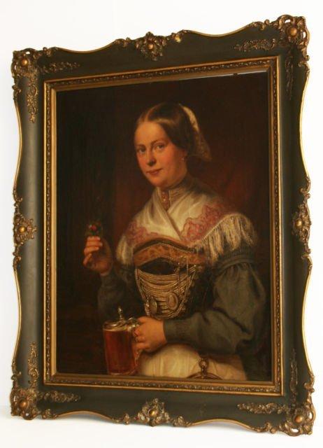 Heinz HOLZ 1799-1857 O/C DATED 1851 BAVARIAN GIRL