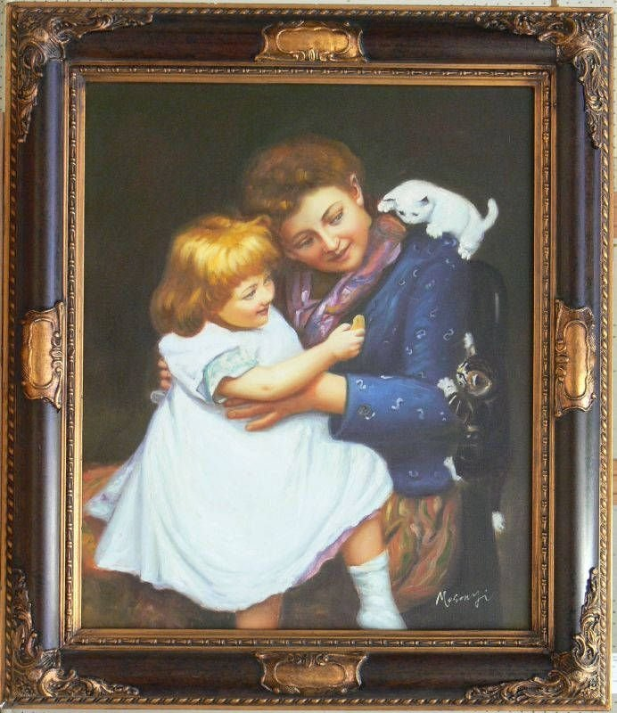 INTERRIOR SCENE - MOTHER AND CHILD, SIGNED
