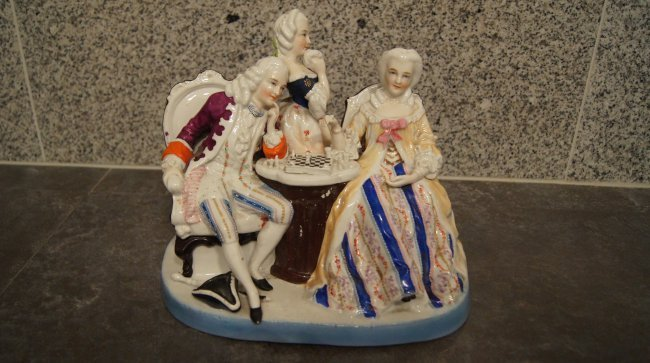 OLD EUROPEAN PORCELAIN FIGURINE - CHESS PLAYERS