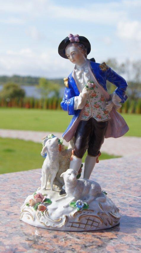 OLD EUROPEAN PORCELAIN FIGURINE - BOY WITH SHEEPS
