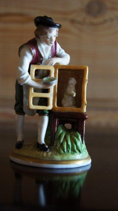OLD EUROPEAN PORCELAIN FIGURINE - BOY WITH RABBIT