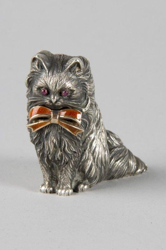 FABERGE - silver cat figurine