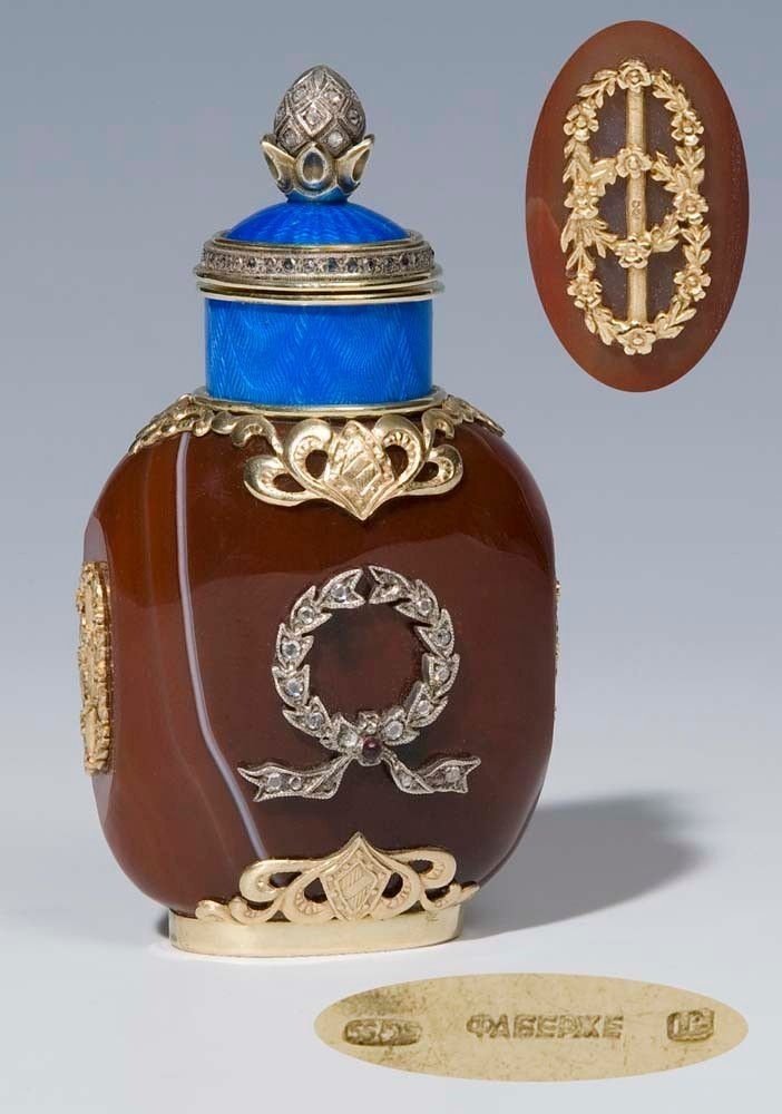 FABERGE - Gold Email Agate bottle