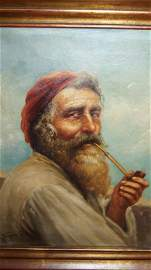 RAFFAELE FRIGERIO  1875-1948 PORTRAIT OF OLD FISHERMAN