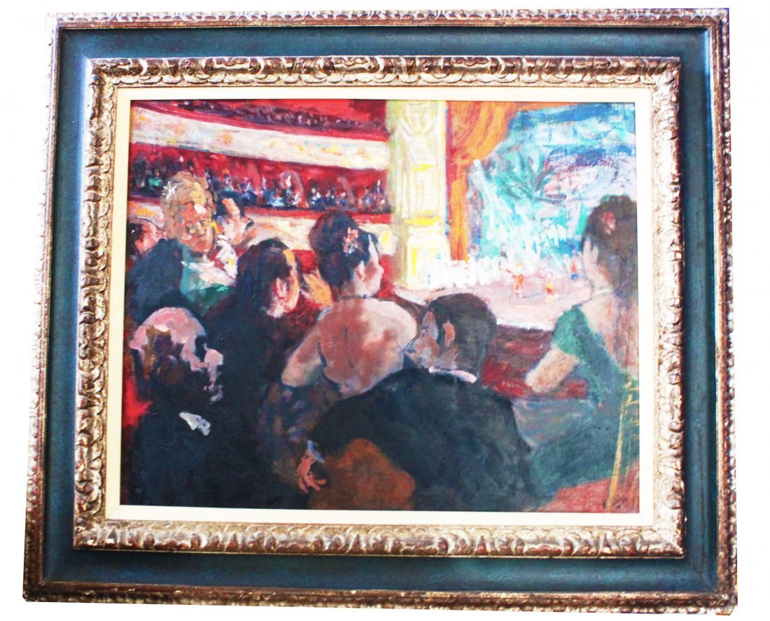 """Robert Philipp """"In the Loge""""  Oil on Canvas painting"""