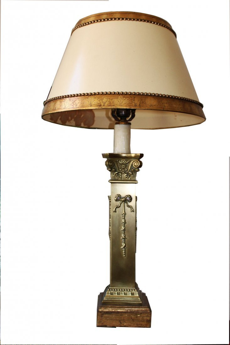 Pair Bronze Square Column Lamps