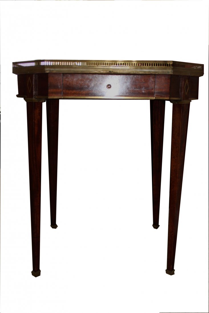 French Empire Style Octogon Side Table with Carrera