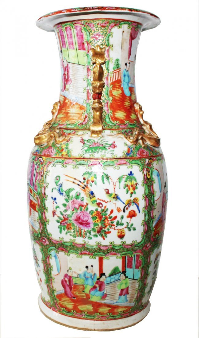 Chinese 19th c Canton Rose Family Vase