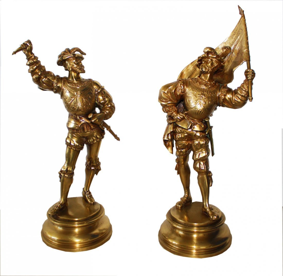 Pair Emile Guillemin French 19th c  Bronze Dore