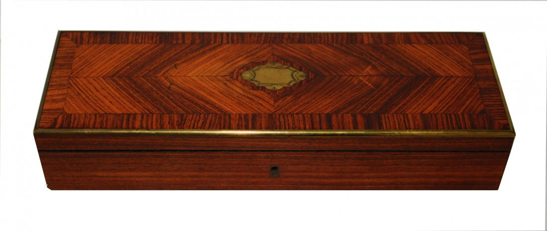French Napolean III Marquetry Bronze Inlay Box
