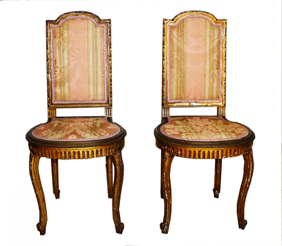 Pair French Louis XV style Decorative Ballroom Chairs