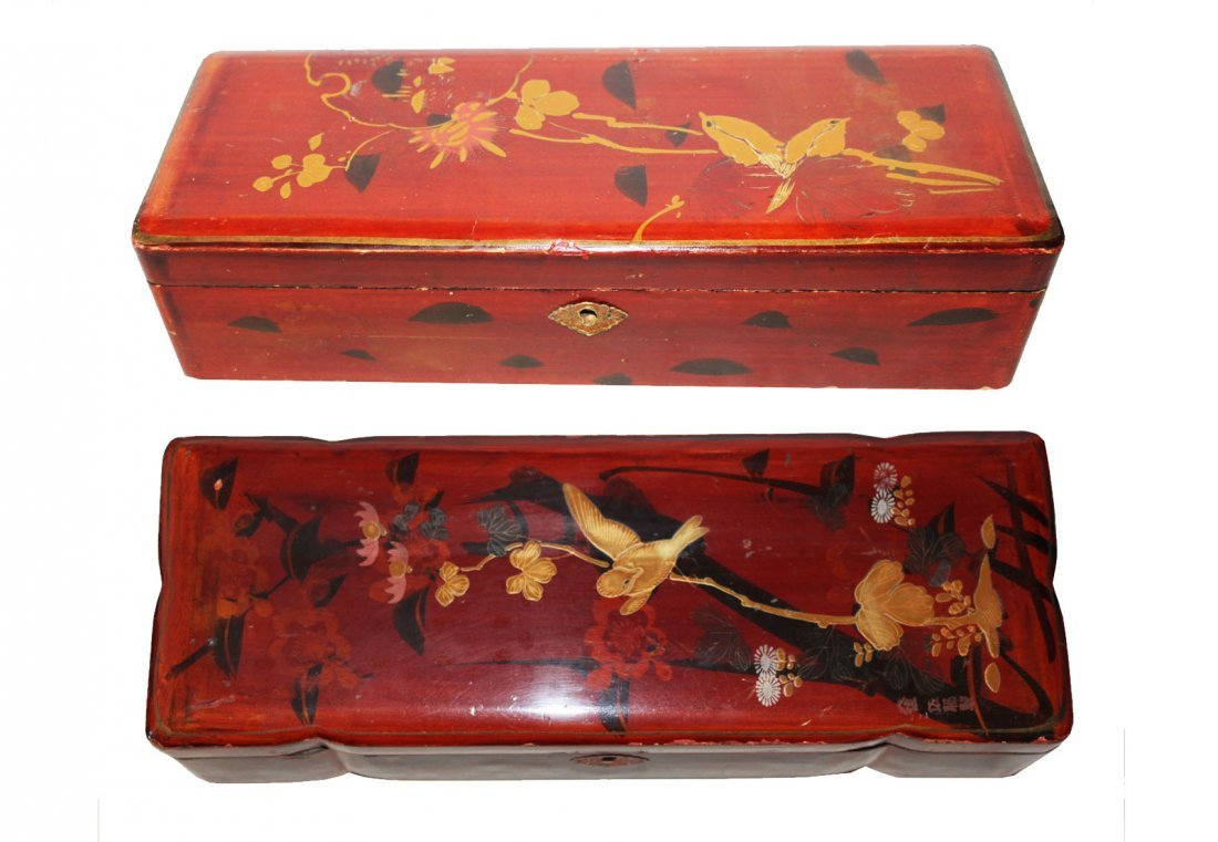 Pair Japanese Hand Painted Pencil Boxes
