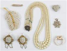 Group of (7) seed pearl jewelry