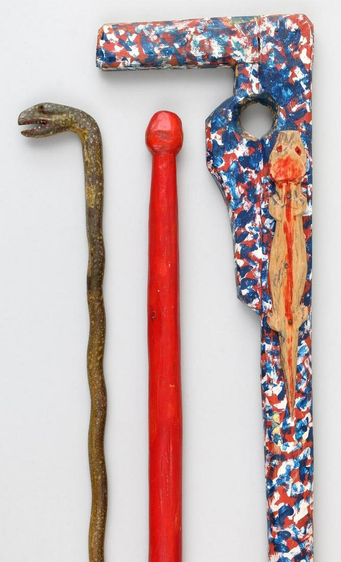 Group of (3) Folk Art painted carved wood canes