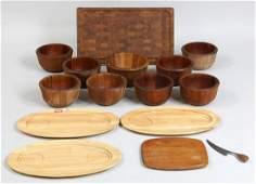 Group of (14) wood Dansk, International Design
