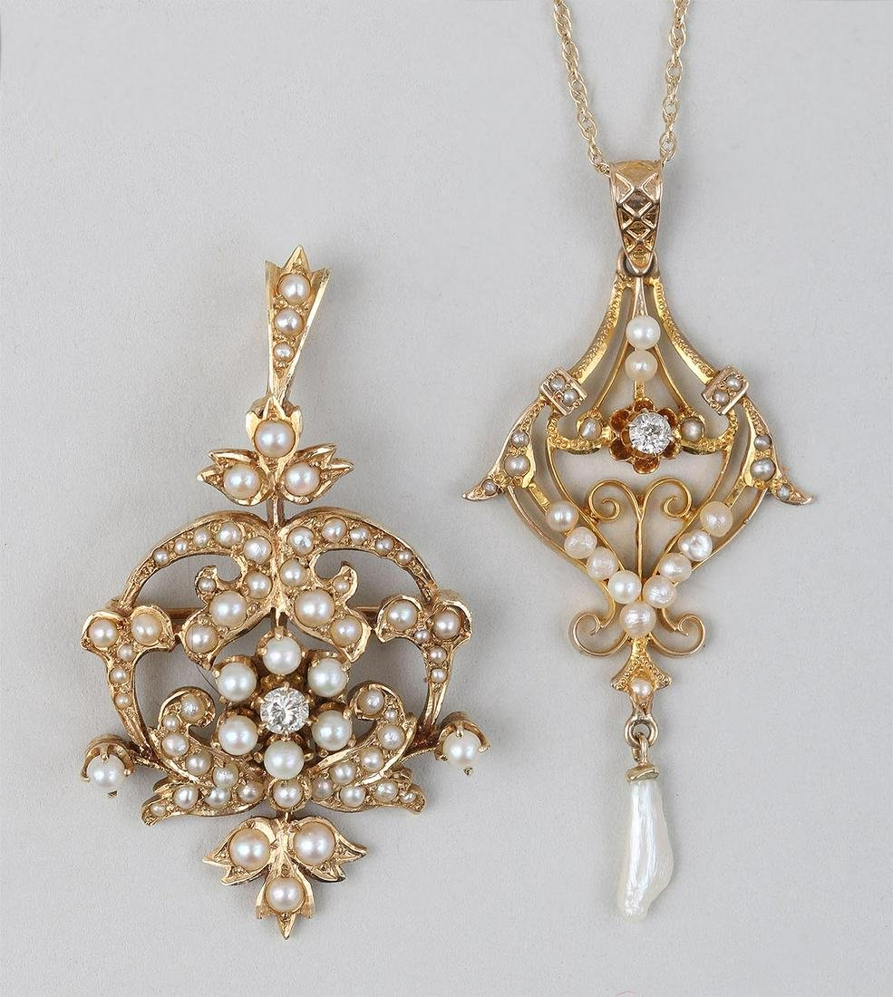 Group of (2) 14k gold, pearl, and diamond jewelry