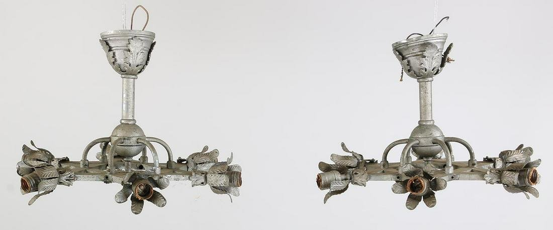 Pair of six-light star shaped ceiling fixtures