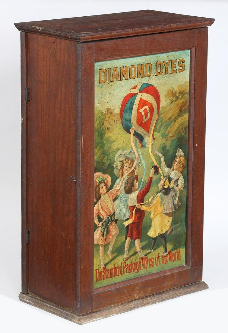Diamonds Dyes double sided wood display cabinet