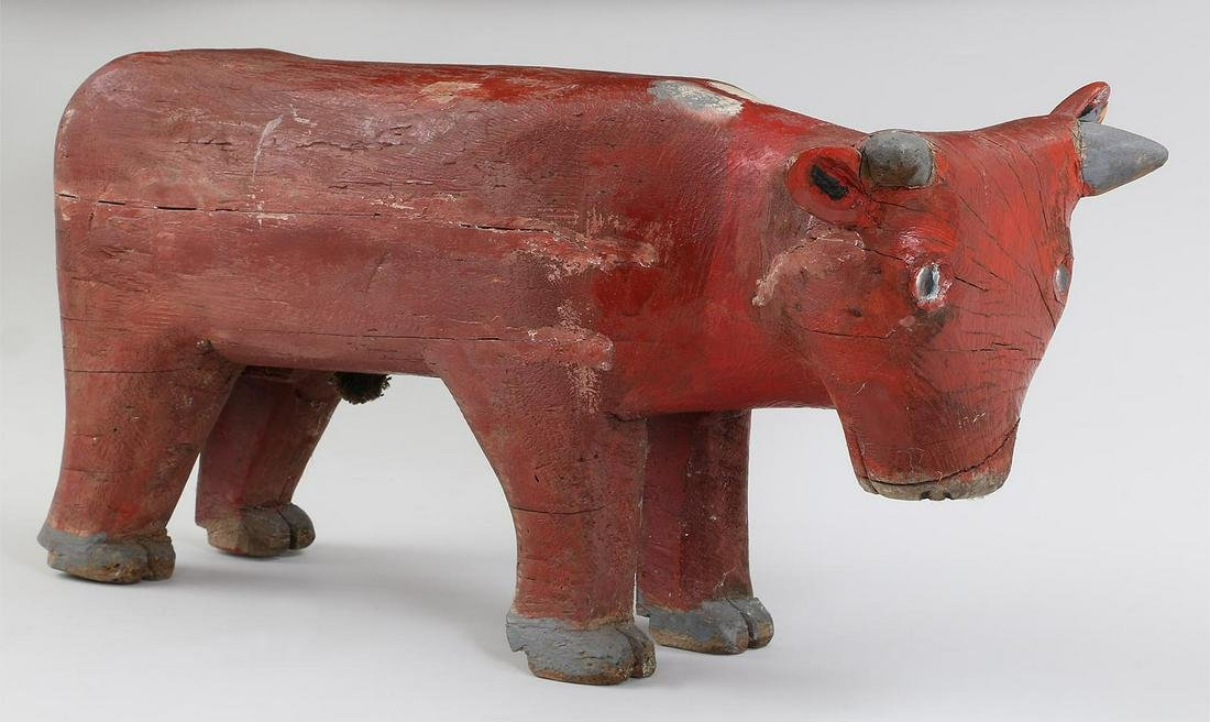 Folk Art carved and painted wood bull