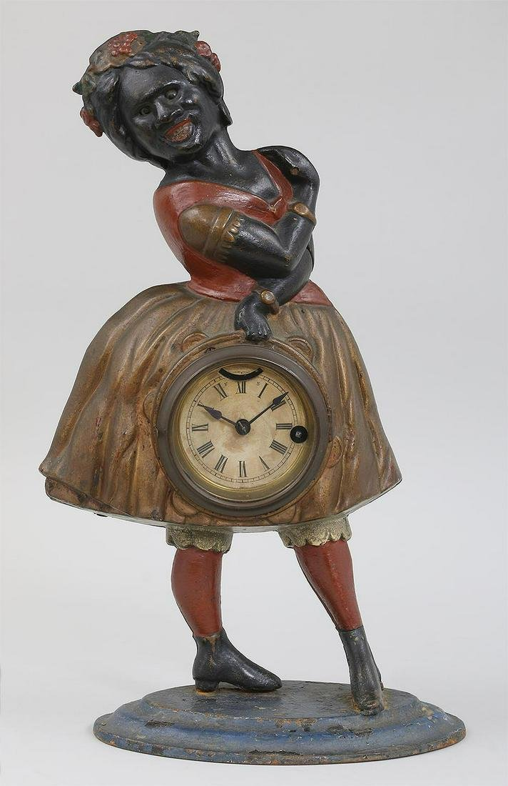 Black Americana painted cast iron clock