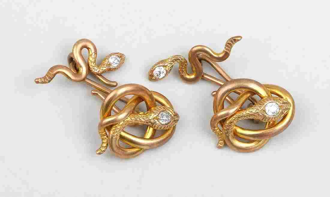 Pair of 14k gold snake cufflinks