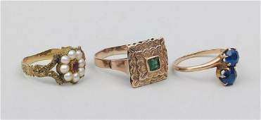 Group of 3 Victorian style gold rings
